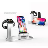 Desktop charger 3 in 1 Aluminum Alloy Charger iphoneX/8/7 Multi function Charging Bracket for Apple Watch AirPods