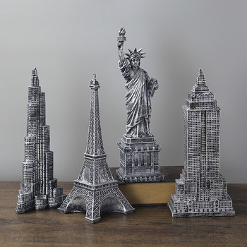 American Peugeot of Liberty Statue Creative Resin Eiffel Tower With Empire State Building and Burj Khalifa Sculpture Home Decor