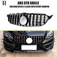 GT R Стайлинг Черный ABS передняя решетка решетки сетки для Benz W205 C180 C200 C300 C43 с AMG посылка 2DR и 4DR (без логотипа, без c63)