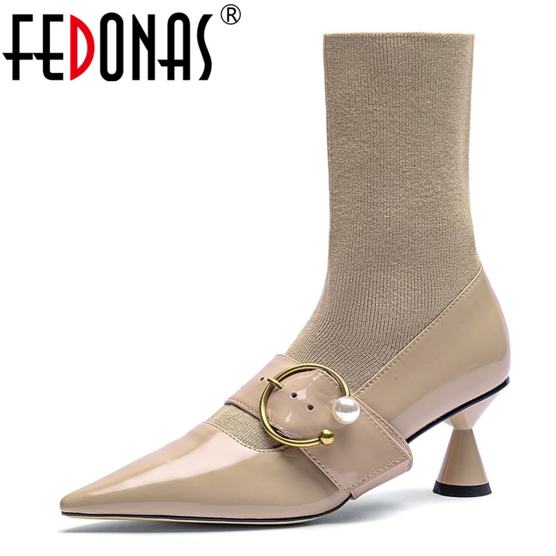цена на FEDONAS Women Socks Boots Autumn Winter High Heels Buckles Brand High Ankle Boots Sexy Pointed Toe Wedding Party Shoes Woman