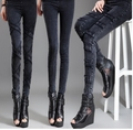 Free shipping !!!Ms outside of new fund of 2016 autumn wear leggings elastic jeans bigger sizes show thin elastic foot trouserss