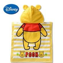 Disney Mickey Minnie Donald Daisy Winnie Hooded Towel Children Cartoon Bathrobe Cotton  Breathable Soft Baby Bath