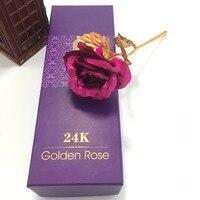 25 CM Ręcznie 24 k Złota Folia Rose Flower Świateł Długo Macierzystych Miłośników Prezent Ślubny 1 pc Różowy Wieczne Kwiat darmowa Wysyłka