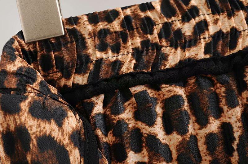 2019 Leopard Pleated Skirt with Bow Belt High Street Women Animal Print Midi Skirts 14