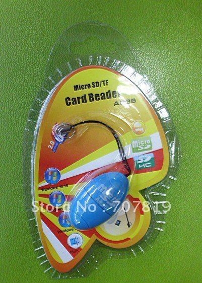 50* Wholesale Professional Cute Blue Egg Style Micro SD/SDHC TF Card Reader Free Shipping !!