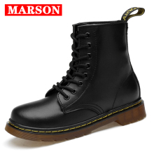 MARSON Men Leather Ankle Boots Autumn Winter Mens Fashion Motorcycle Outdoor Working Snow Shoes
