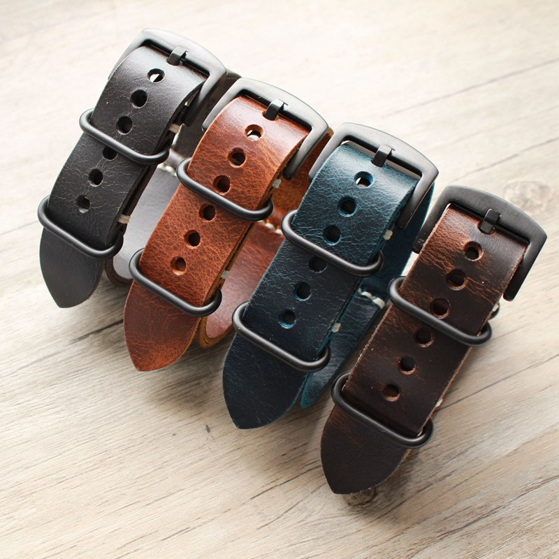Carty Replacement Watch Strap Handmade Crazy Horse Leather Watch Band 22mm 20mm 24mm Zulu Nato Black/Brown/Blue Watch Strap tjp 1pcs 18mm 20mm 22mm 24mm 26mm green khaki black brown genuine crazy horse leather bracelet nato watch strap bands