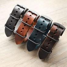 Nowa wymiana paska w zegarku Carty Handmade skóra Crazy Horse Watch Band 22mm 20mm 24mm Zulu Nato czarny/brązowy/niebieski zegarek pasek