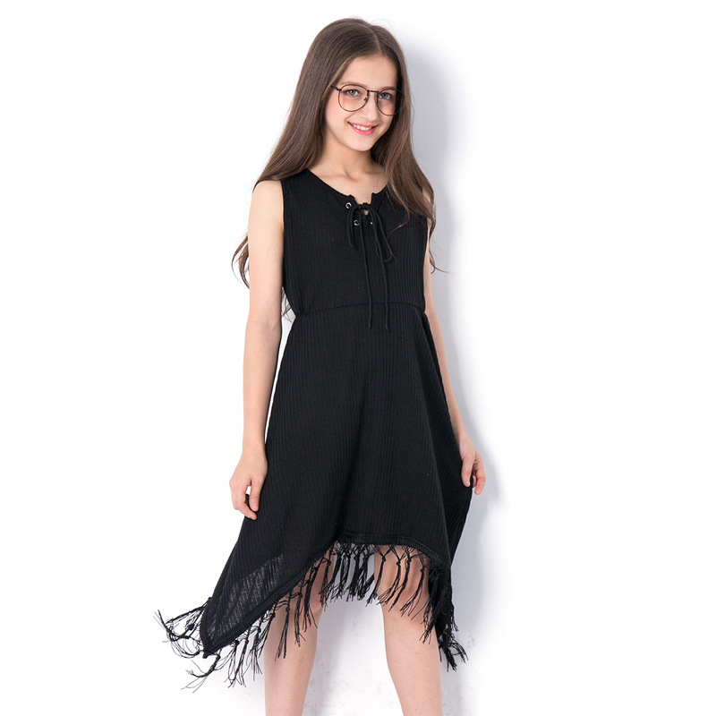 2018 Summer New Arrival Teenager Girls Black Tassel Dress Size 6 8 10 12 14 Years Big Teen Girls Fashion Sleeveless Dresses new girls bohemia children dresses summer beach dress floral v neck sleeveless dress jumpsuits maxi dress 4 6 8 10 12 14 years