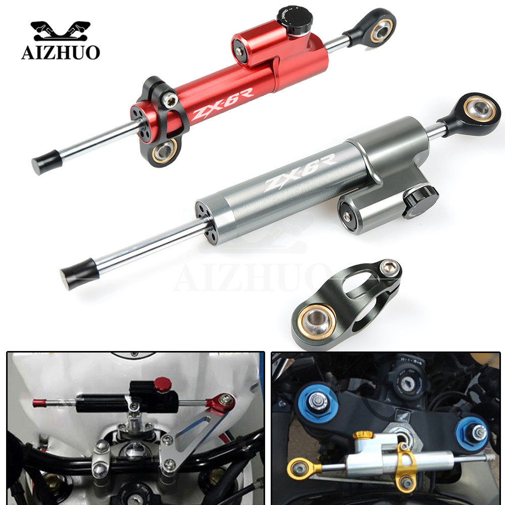 CNC Aluminum ZX6R LOGO Motorcycle Damper Steering Stabilize Safety Control For KAWASAKI ZX6R ZX 6R 2007 08 09 10 11 12 13-2016 steering damper stabilizer bracket mounting holder for kawasaki ninja zx6r zx 6r 2009 2016 2010 2015 gold