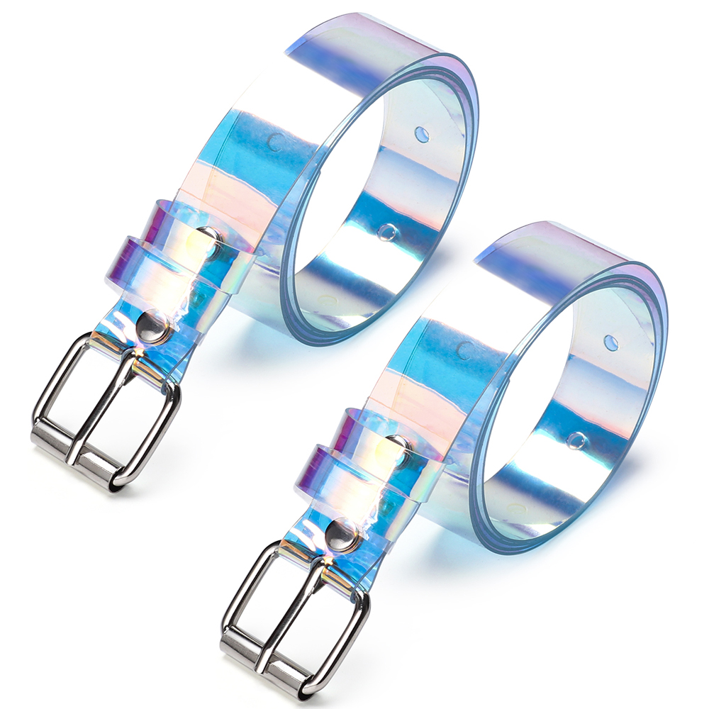 Buckle Waistband Laser Wide-Belt Clear-Pin Holographic-Rainbow Punk Transparent Women
