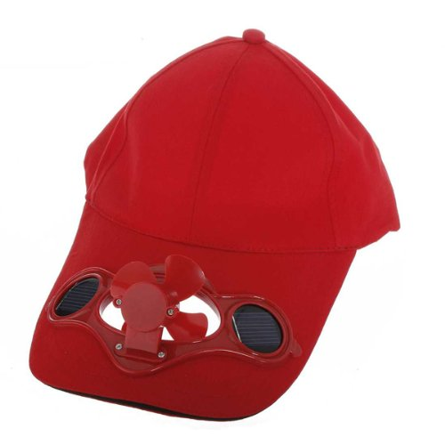 JHO Red Solar Powered Air Fan Cooled Baseball Hat Camping Traveling