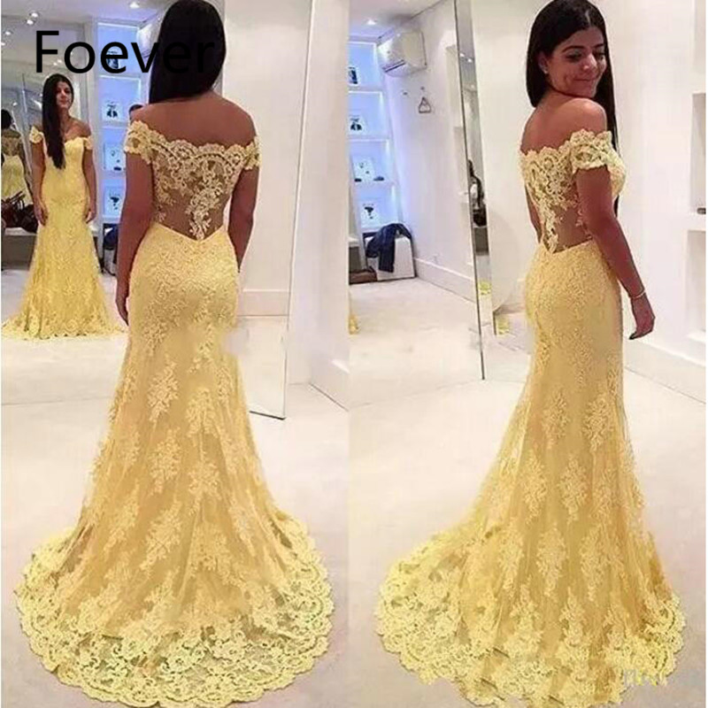 Elegant Yellow Lace Mermaid   Evening     Dresses   Off the Shoulder Illusion Back Long Prom Gowns vestidos Party   Dresses