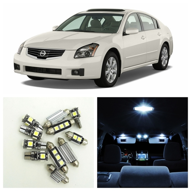 13pcs Xenon White LED Light Bulbs Interior Package Kit For Nissan Maxima  2004 2008 Map