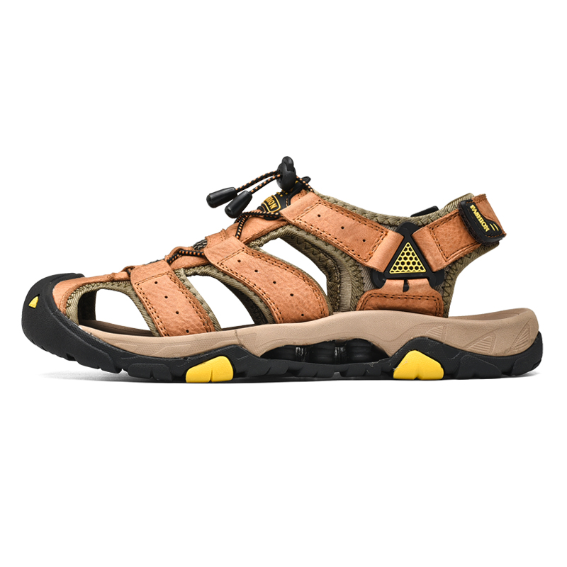 Genuine Leather Men Sandals Plus Size High Quality Outdoor Men Shoes Waterproof Beach Summer Shoes Men in Men 39 s Sandals from Shoes