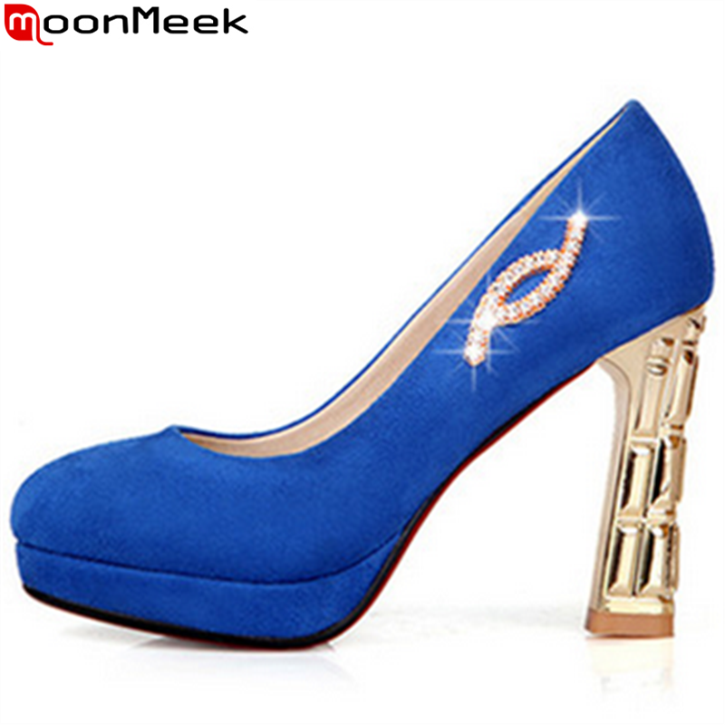 ФОТО Big size 34-43 round toe top quality pu leather ultra high heels women pumps sexy style platform popular party shoes for lady