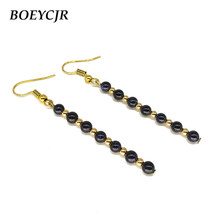 9e8efc1d5 BOEYCJR Natural Blue Sandstone Drop Earrings Handmade Fashion Jewelry Hook  Earrings Stone Dangle Earrings for Women 2019