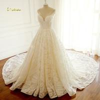 Loverxu Vestido De Noiva Sexy V Neck Lace Vintage Wedding Dress 2018 Cap Sleeve Beaded Chapel Train A Line Bridal Gown Plus Size