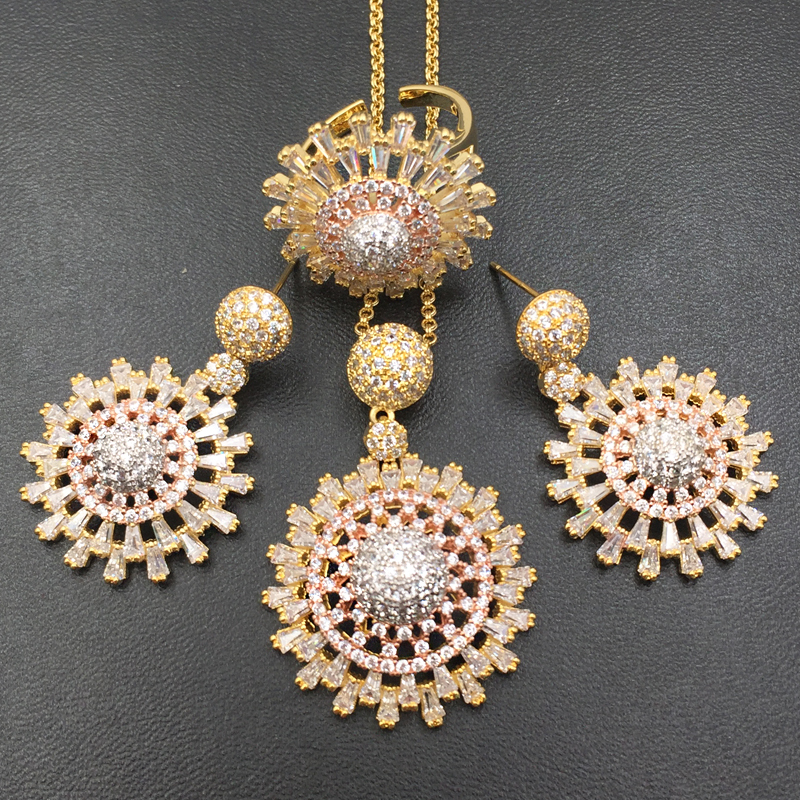 Lanyika Jewelry Set Artistic Luxury Stereo Ball Micro Paved Cubic Zircon Necklace with Earrings and Ring for Party Bridal Gift