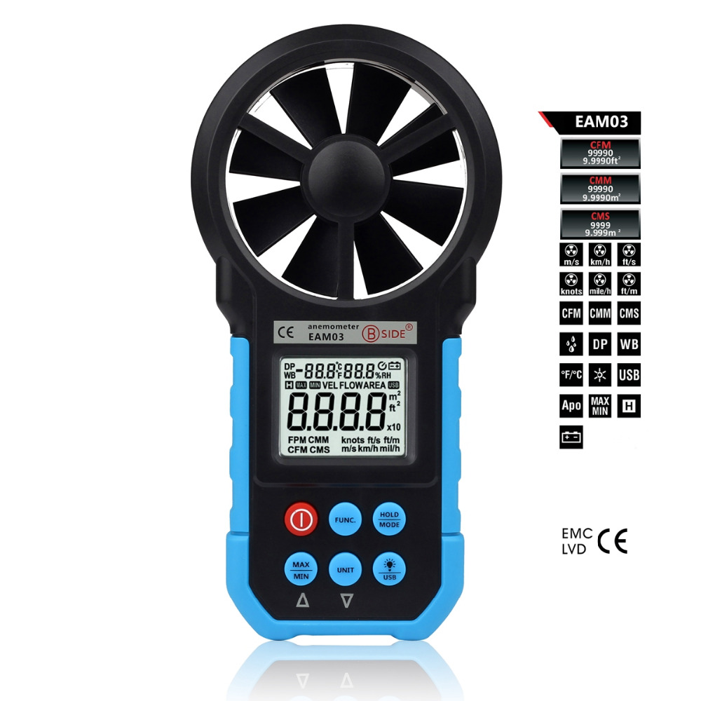 EAM03 Professional Digital Anemometer Wind Speed Meter Anemometro Air Flow Temperature Humidity Tester with USB Real Time Data  цены