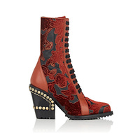 Горячие осень зима кожи с вышивкой ботинки до середины икры женская обувь на высоких квадратных каблуках на шнуровке Сапоги вестерн Дизайн