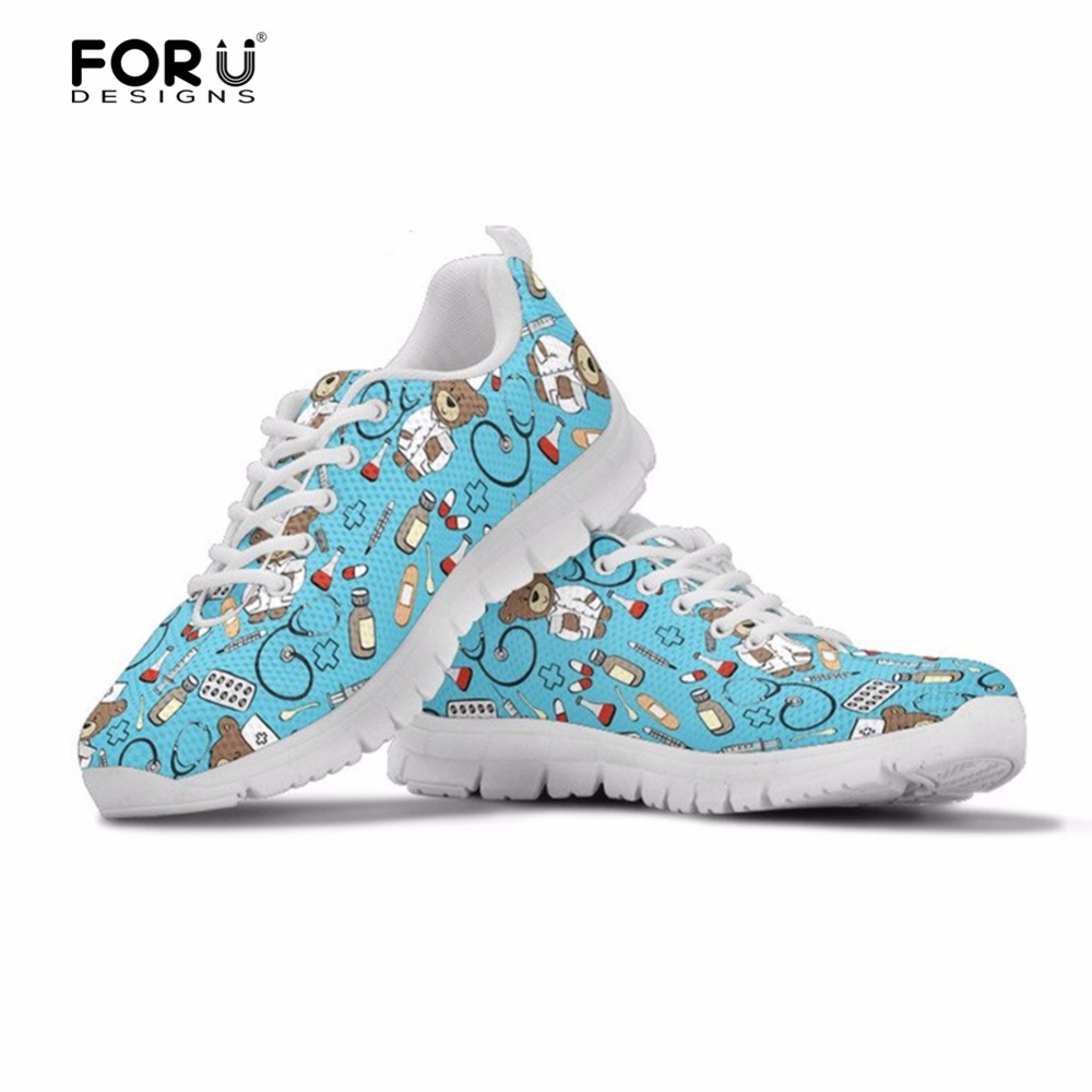 FORUDESIGNS Ladies Shoes Nurse-Sneakers Women Flats Comfortable Leisure Blue Casual Mesh