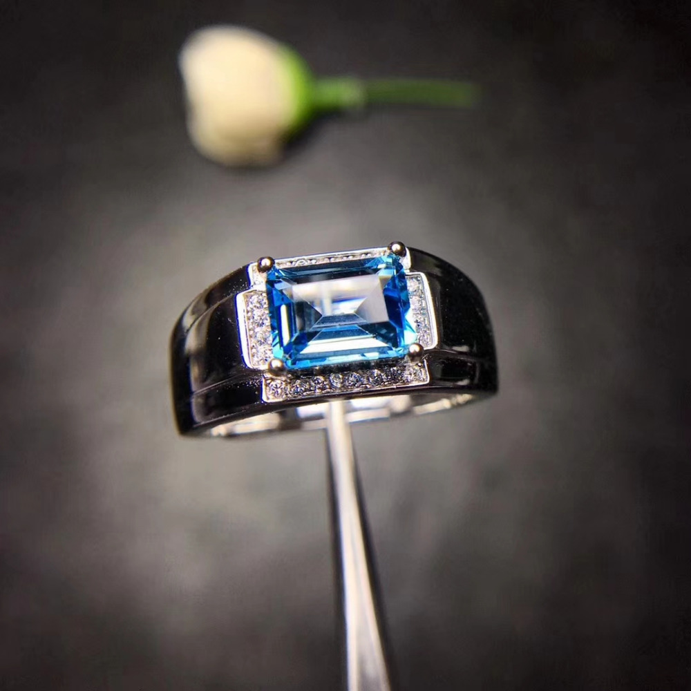 Genuine Natural London Blue Topaz S925 Sterling Silver Man Wedding Ring Gifts
