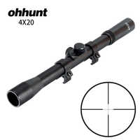 ohhunt 4X20 Hunting Shooting Riflescopes Fine Duplex Reticle Tactical Optical Sight Air Scope with 11mm Dovetail Rings
