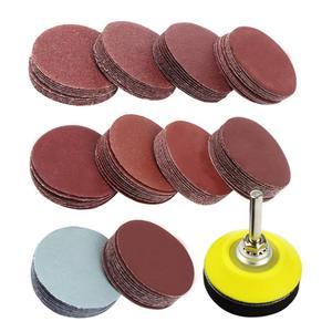 Kit de almohadillas de discos de lijado de 2 pulgadas y 100 Uds para amoladora de taladro herramientas giratorias con placa de respaldo vástago de 1/4 pulgadas incluye arena de grano de 80-3000