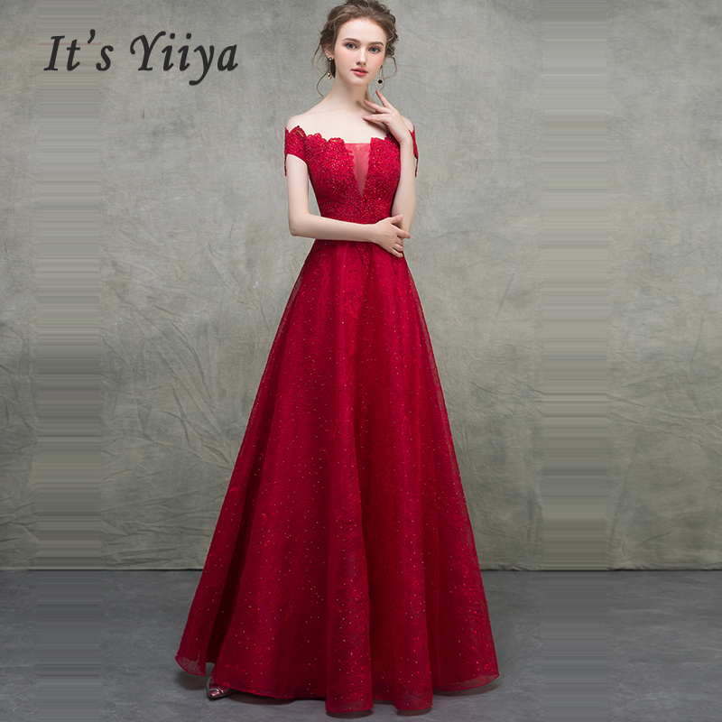 It's Yiiya Evening Dress Short Sleeve Robe De Soiree Boat Neck Women Party Dresses 2019 Plus Size Backless Evening Gowns E659