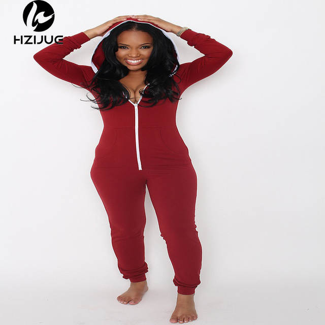 9052e63b0673 Online Shop 2017 Casual Women One Piece Outfits Jumpsuits Long Sleeve  Bodycon Front Zipper Hooded Long Pants Sexy Black Red Rompers Playsuit