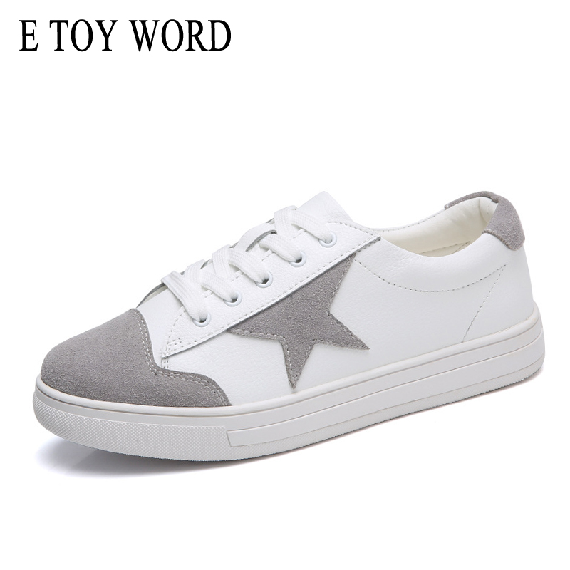 E TOY WORD Genuine Leather breathable stars fight color flat shoes women Sneakers lace u ...