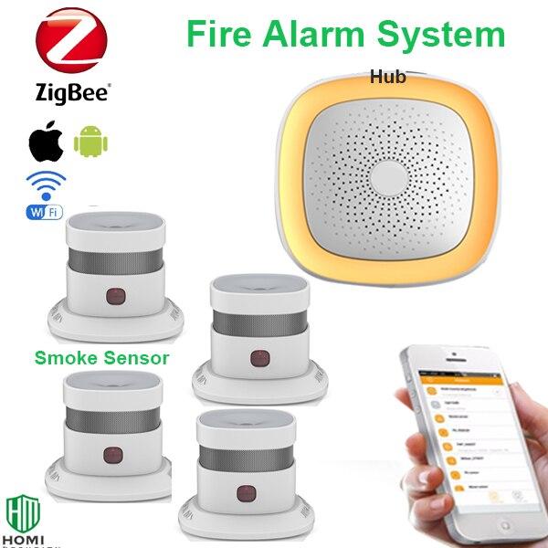 APP Notification Zigbee 4pcs Smoke Sensors Wireless Fire Smoke Alarm System For House Fire Prevention Smoke Detector
