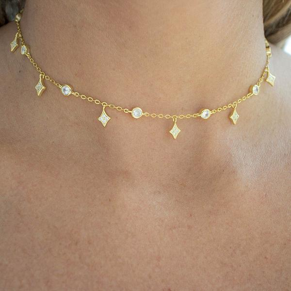Vermeil Gold Cat Necklace Sparkling Jewellery Silver