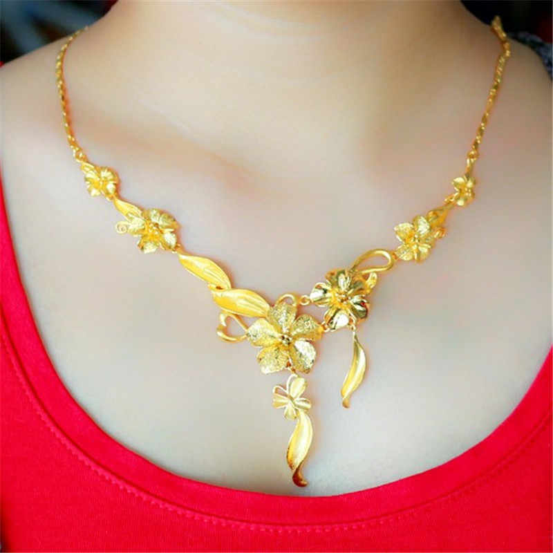 FREE SHIPPING Luxurious 24K Gold-plate Camellias 1:1 Quality Hongkong Gold Shop Handmade Necklace Wedding Jewelry