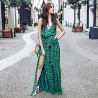 Sleeveless V neck Slit Print Long Bohemian Dress