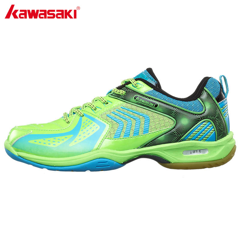 KAWASAKI Green Badminton Shoes Sports Shoes for Men Women PU Leather and Breathable Mesh Indoor Court Sneakers K-139 sale badminton shoes sneakers sport men sneaker free indoor man new professional walking breathable hard court medium b m