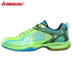 Kawasaki green badminton shoes sports shoes for men women pu leather and breathable mesh indoor court.jpg 250x250