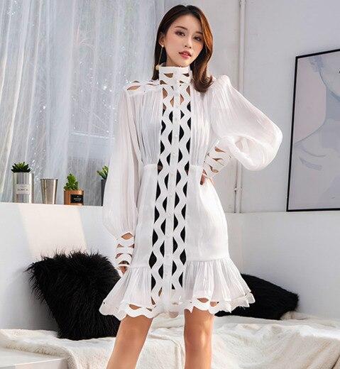 Solide Longues Nouveau Coréenne Vêtements Femme Creux Manches Robe Style Superaen Femmes Couleur 2019 Mode White Printemps Roulé Col wqf7zRXxU