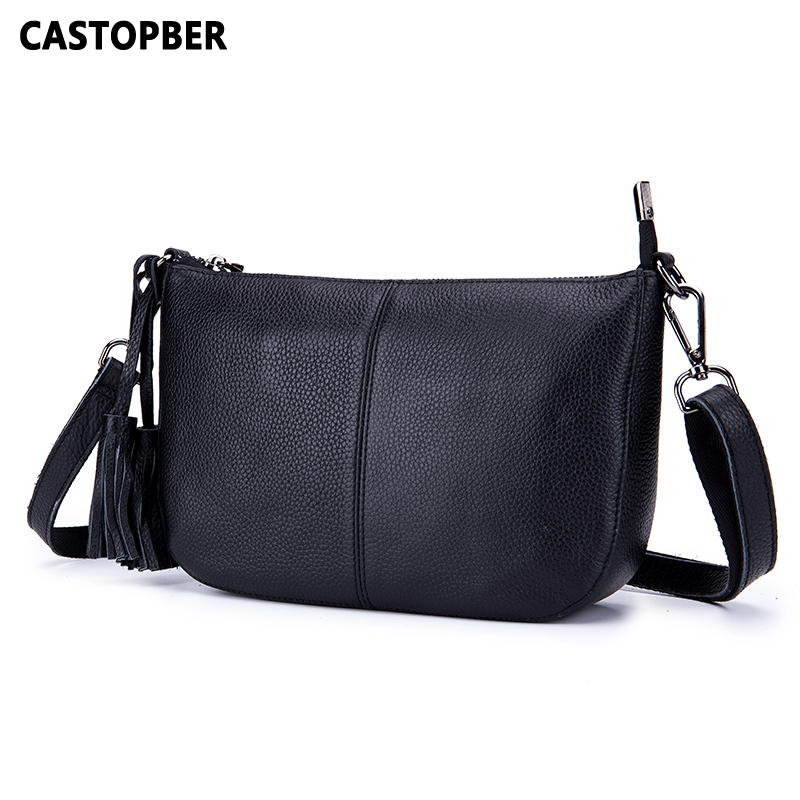Women Genuine Leather Bags 2018 Fashion Crossbody Handbags Cow Leather Tassel Messenger Shoulder Bag High Quality Famous Brand new brand genuine leather women bag fashion retro stitching serpentine quality women shoulder messenger cowhide tassel small bag