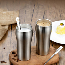 Beer glass Double Wall Stainless Steel wine glass Coffee juice Milk Cup Top Quality Metal glass fhome Office mug coffee Tea Cup cow udder shaped juice pitcher clear wine beer mug cup double glazing handle glass gift innovative milk creamer coffee