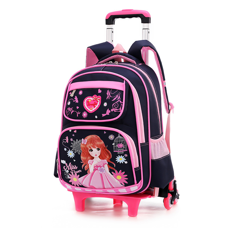 2019 Children School Bags Removable Girls Large Capacity Princess Trolley Backpack 6 Wheels Climb Stair Kids Rolling Backpacks