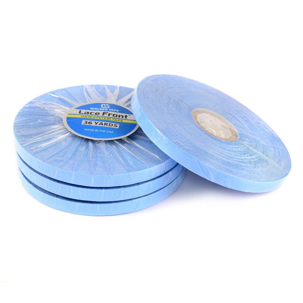 0.8cm * 36 jardas forte sistema de cabelo fita laço frente apoio azul dupla face fita para fita extensão do cabelo/peruca peruca/laço