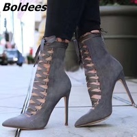 Army Green Black Grey Pink Womens Shoes Faux Suede Cross tied Strappy High Heels Pointed Toe Lace Up Ankle Boots Sexy Stilettos