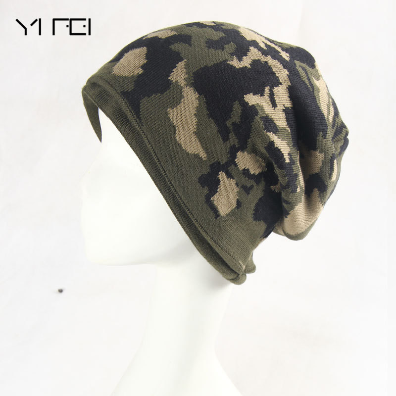YIFEI Brand Beanies For Men Skullies Camouflage Knitted Hat Winter Warm Thick Casual Camo Cap Army Green Fashion шапка harrison theodore short beanies green