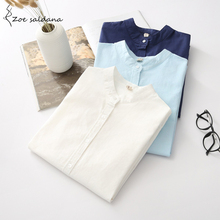 Zoe Saldana 2017 New Fashion OL Casual White Shirt Women Long Sleeve Stand Collar Cotton Female Blusa Women Tops