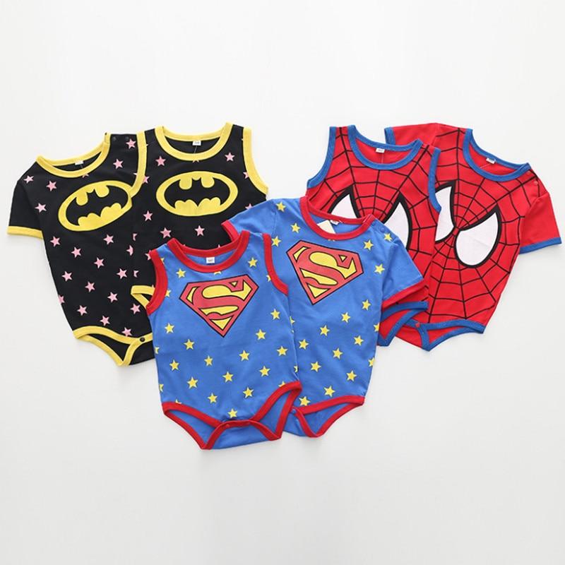 2019 Summer Newborn Baby Boys Girls Clothes Superman Batman Spiderman Baby   Rompers   Cotton Short Sleeve Infant Jumpsuits Custume