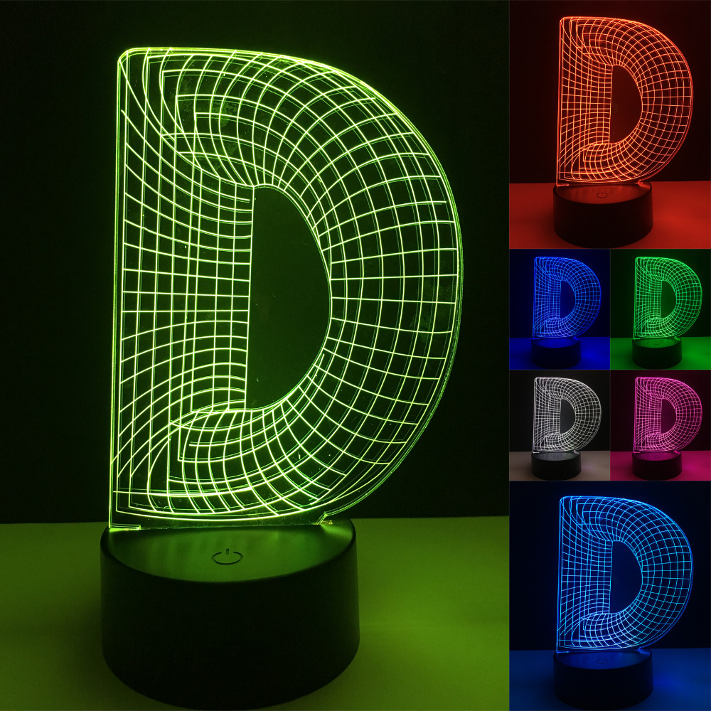Unique 3D Night Light Alphabet Letter D 7 Color Gradient Desk Table Led Bedside Home Cafe Mall Plub Bar Decor Lamp Best Gifts