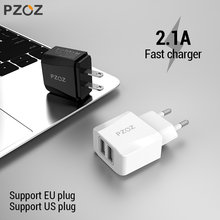 PZOZ USB Charger 2a Fast Charging Travel EU Plug Adapter portable Wall charger Mobile Phone cable Dual usb US Plug Charger(China)