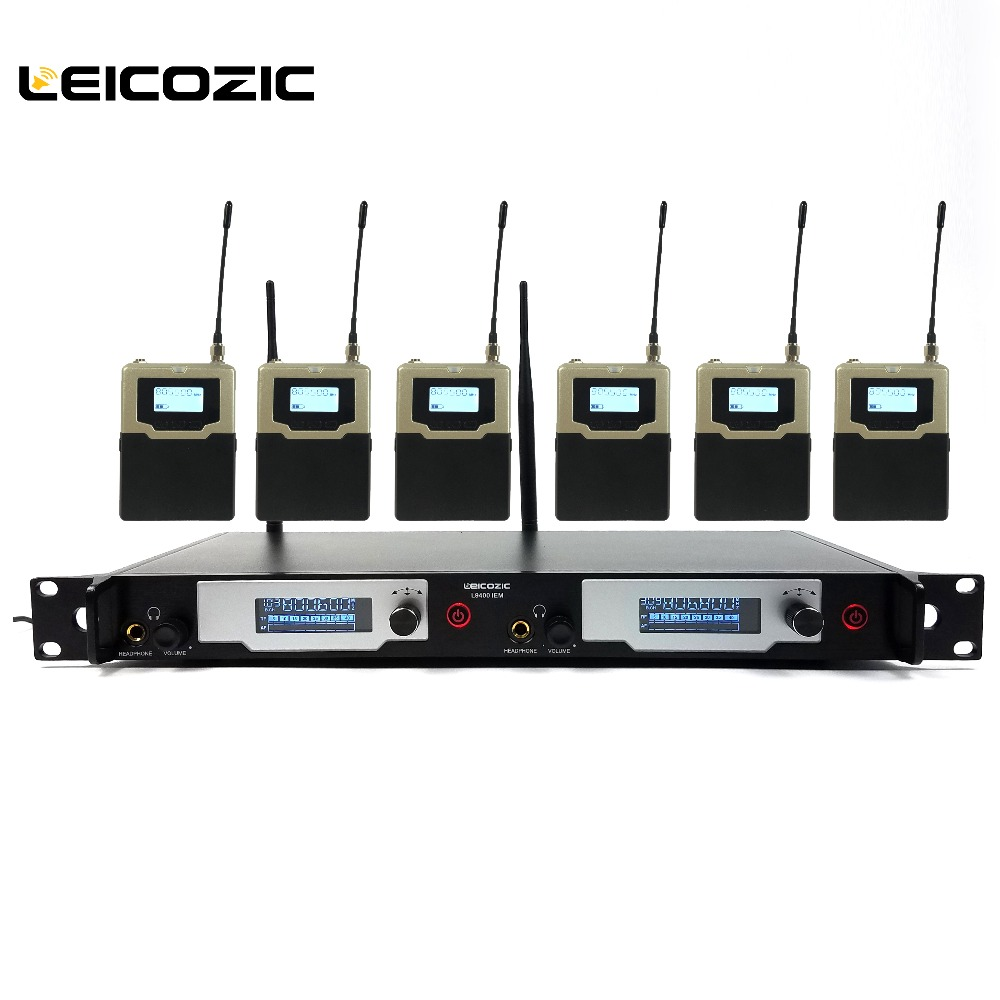 Leicozic Wireless Monitor System UHF In-Ear Wireless earphones & 6 Receivers Stage Monitoring System L9400 IEM New SR2050 IEM